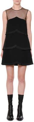 Stella McCartney Sleeveless Sheer-Yoke Tiered Pleated Mini Dress