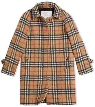 Burberry Vintage Check Alpaca Wool Blend Car Coat
