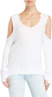 Pam & Gela White Cold Shoulder Sweatshirt