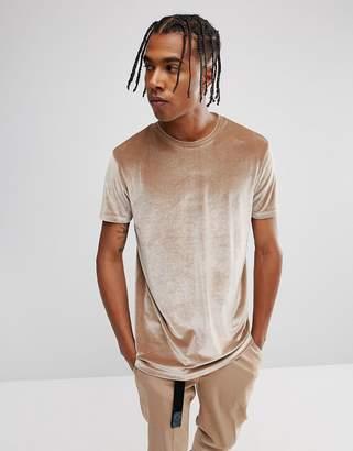 Asos DESIGN Longline Velour T-Shirt In Brown