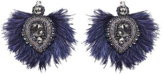 Tory Burch Ostrich-feather Embellished Earrings