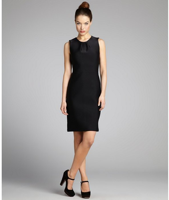 Cynthia Rowley black neoprene pleated sleeveless sheath dress