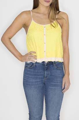 Machine Jeans Yellow Lace Overlay Top