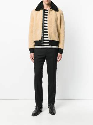 Saint Laurent Constast collar shearling jacket