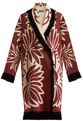 Märit Ilison - Palm Intarsia Tasselled Cotton Coat - Womens - Burgundy White