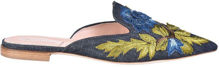 Alberta FerrettiAlberta Ferretti Embroidered Floral Slippers