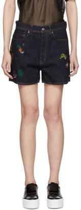 Acne Studios Bla Konst Indigo Denim Swamp Chewing Gum Shorts