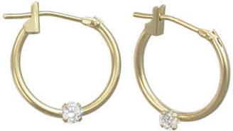 JCPenney FINE JEWELRY Girls 14K Gold Cubic Zirconia Accent Hoop Earrings