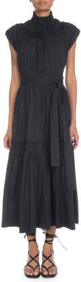 Proenza Schouler Sleeveless Shirred Cotton Tiered Maxi Dress w/ Self-Belt
