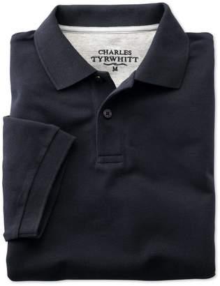 Charles Tyrwhitt Navy Pique Cotton Polo Size Large
