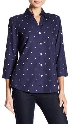 Foxcroft Mary 3/4 Sleeve Polkadot Button Down Shirt