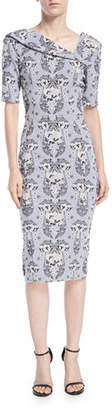 Zac Posen Asymmetric-Neck Damask Stretch-Jacquard Sheath Cocktail Dress