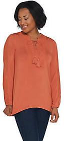 Nobrand NO BRAND Denim & Co. Lace-up V-Neck Top withCrochet Detail