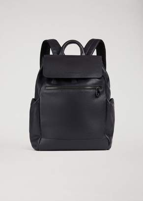 Emporio Armani Full-Grained Leather Backpack With Side Pockets