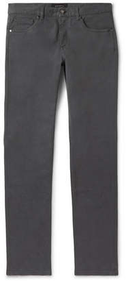 Ermenegildo Zegna Grey Slim-Fit Garment-Dyed Stretch-Cotton Twill Trousers