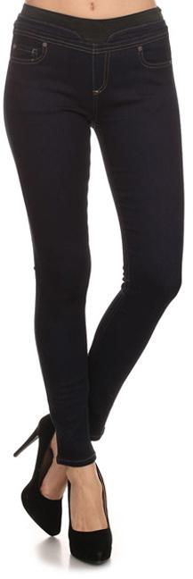 Black Elastic-Waist Skinny Jeans
