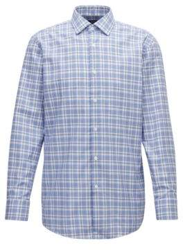 BOSS Hugo Slim-fit shirt in Glen-check cotton twill 15/L Open Blue