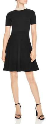 Sandro Luigi Embellished Collar & Ribbed Skirt Dress