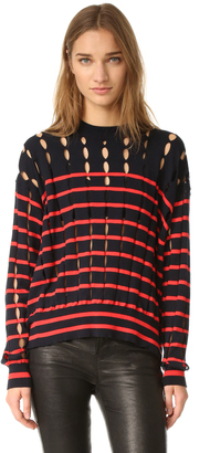T by Alexander Wang Crew Neck Pullover with Slits $375 thestylecure.com