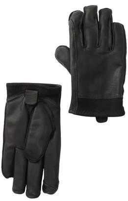 UGG Mixed Leather Faux Fur Lined Tech Gloves