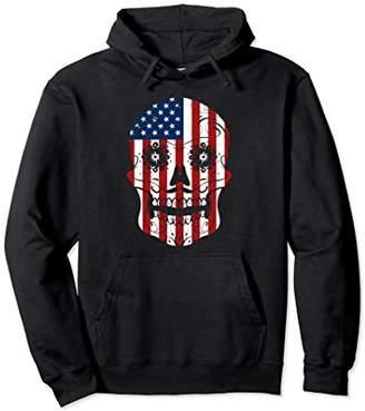 American Flag Patriotic Sugar Skull July 4th Hoodie