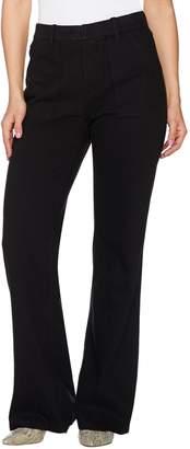 Isaac Mizrahi Live! Regular Knit Denim Flared Jeans w/ Patch Pockets