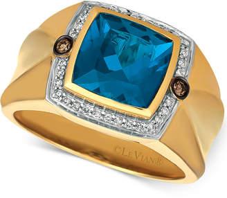 LeVian Le Vian Gents Men's London Blue Topaz (4-1/8 ct. t.w.) & Diamond (1/5 ct. t.w.) Ring in 14k Gold