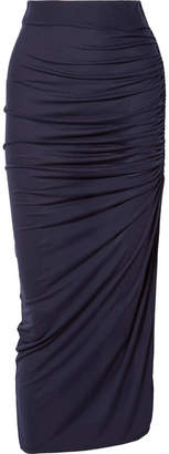 Ninety Percent - Ruched Tencel Midi Skirt - Navy