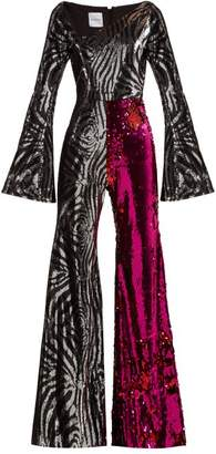 Halpern - Zebra Pattern Sequined Jumpsuit - Womens - Fuchsia