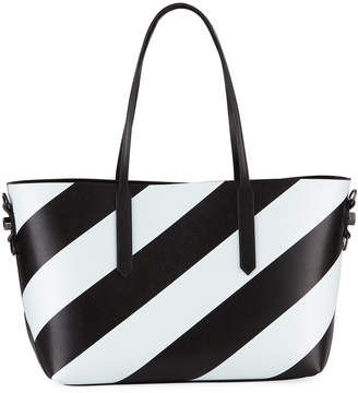 Off-White Off White Medium Diagonal Striped Leather Tote Bag