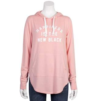 """Grayson Threads Juniors' Plus Size Happiness is the New Black"""" Graphic Hoodie"""