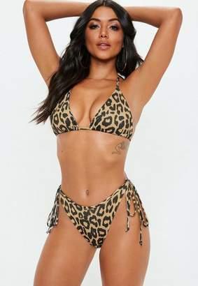 Missguided Tan Animal Tie Back Triangle Bikini Top