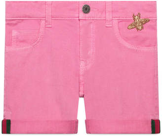 Gucci Children's denim short with Web and bee