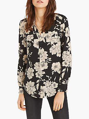Oasis Bold Bloom Print Shirt, Black/White