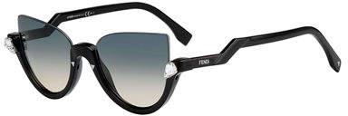 Fendi Blink Half-Rim Crystal Cat-Eye Sunglasses