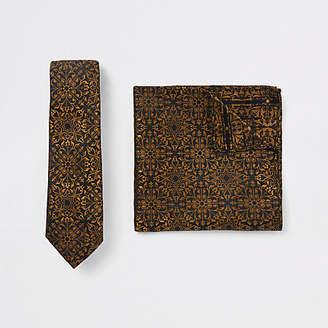 River Island Black baroque print tie and handkerchief set