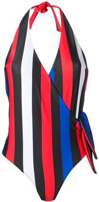 MSGM halterneck striped one-piece swimsuit