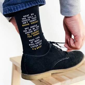 Paper Plane Cheesy Dad Jokes Socks