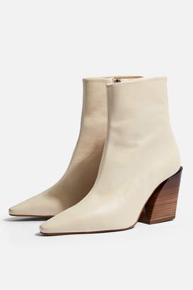 Topshop Womens Henley Western Boots - Ivory
