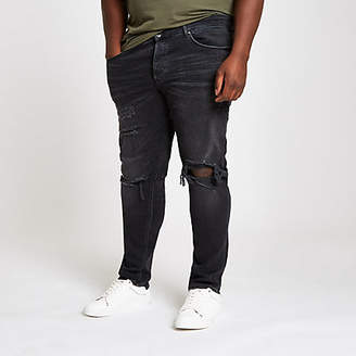 River Island Big and Tall black ripped skinny jeans