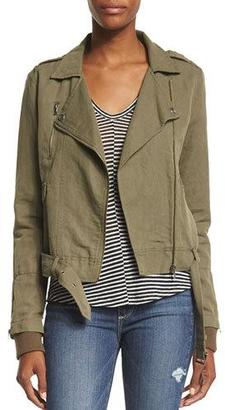Paige Denim Marjorie Zip-Front Belted Jacket, Desert Olive $295 thestylecure.com