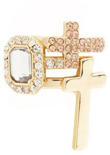 Charlotte Russe Cross & Rhinestone Stackable Rings