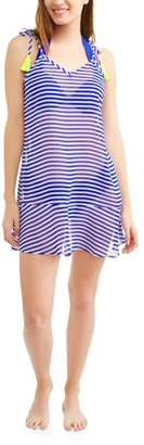 No Boundaries Juniors' Tassel Tie-Shoulder Swim Cover-Up Dress