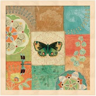Metaverse Art Folk Floral III Center Butterfly Framed Wall Art