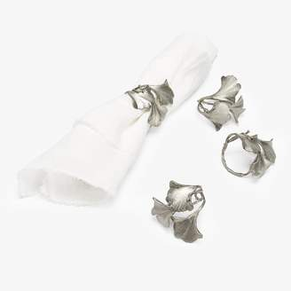 ABC Home Gingko Napkin Rings Pewter