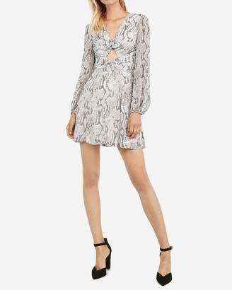 Express Snakeskin Print Twist Front Cut-Out Fit And Flare Dress