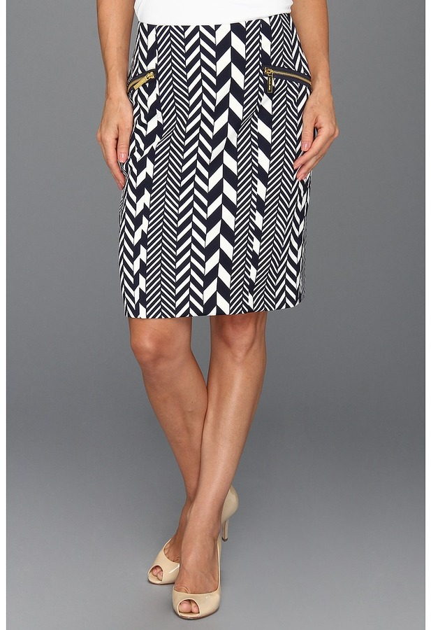 MICHAEL Michael Kors Petite League Stripe Pencil Skirt (Cream) - Apparel