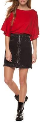Dex Exposed Zipper Skirt w Studs