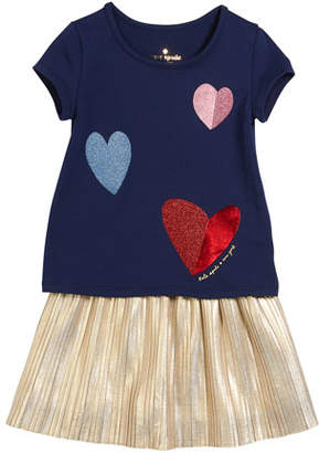 Kate Spade Tossed Hearts T-Shirt W/ Metallic Skirt Set, Size 2-6x
