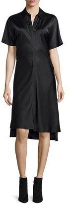 DKNY Short-Sleeve Satin Shirtdress, Black $398 thestylecure.com